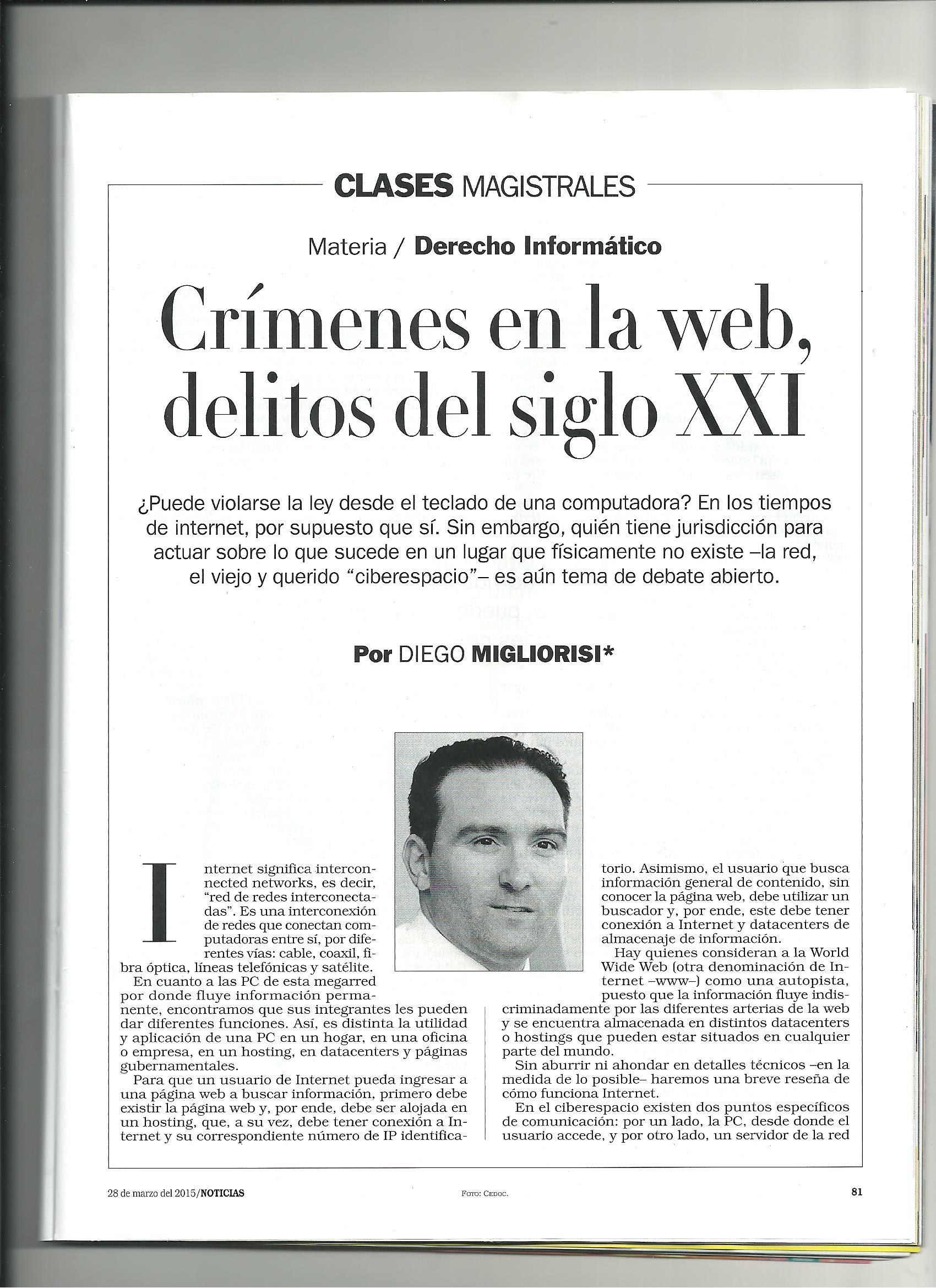 Delitos informáticos - Revista noticias- Por Diego Migliorisi